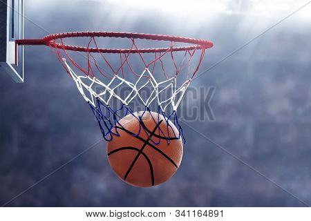 View Of Basketball Hoop In Court Arena Background
