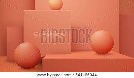 Minimal Geometric Interior. Vector 3d Illustration. Modern Studio Space. Coral Background. Futuristi
