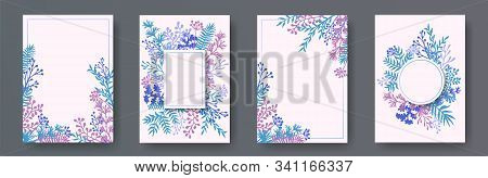 Wild Herb Twigs, Tree Branches, Leaves Floral Invitation Cards Collection. Plants Borders Elegant In