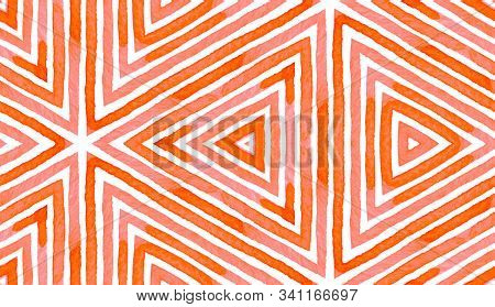 Pink Red Geometric Watercolor. Delightful Seamless Pattern. Hand Drawn Stripes. Brush Texture. Flawl