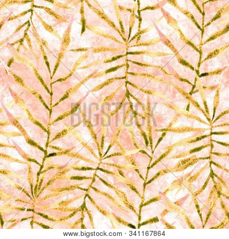 Tropical Seamless Pattern. Watercolor Thorny Palm Leaves, Japanese Bamboo. Yellow Exotic Swimwear De