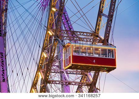 Vienna, Austria - December 20, 2019: The Wiener Riesenrad (vienna Giant Wheel) (1897) Is A Ferris Wh