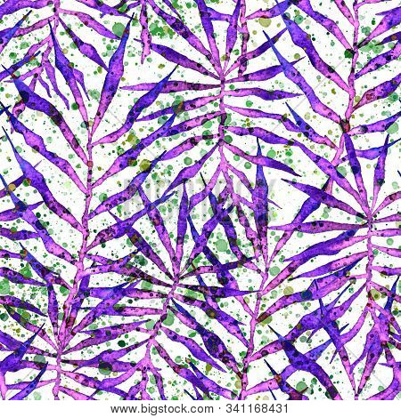 Tropical Seamless Pattern. Watercolor Thorny Palm Leaves, Japanese Bamboo. Purple Exotic Swimwear De
