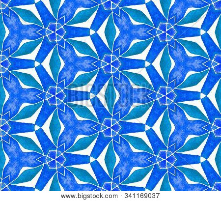 Blue Blue Vintage Seamless Pattern. Hand Drawn Watercolor Ornament. Rare Repeating Tile. Outstanding