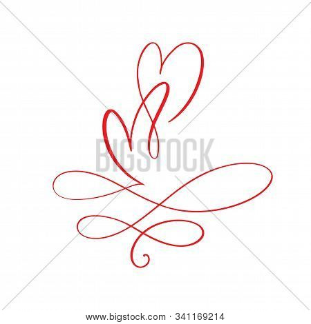 Couple Red Valentines Day Hand Drawn Calligraphic Two Hearts. Calligraphy Lettering Illustration. Ho