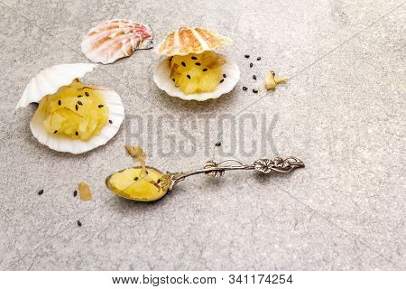 Capelin Roe In Seashells. Black Sesame Seeds With Bonito Flakes. Lightly Salted Caviar Snack In Silv