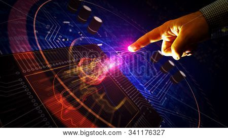Futuristic Cyber Privacy Key In Head 3d Rendering Illustration. Abstract Digital Concept Of Encrypti