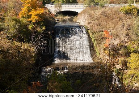 Albion Waterfall Albion Waterfall Near Toronto In Fall Autumn