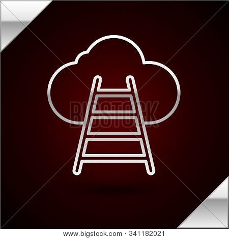 Silver Line Ladder Leading To Cloud Icon Isolated On Dark Red Background. Stairs Leading To The Clou