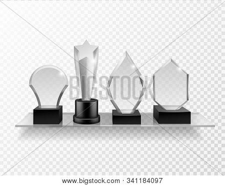Glass Award On Shelf. Realistic Different Champion Prizes On Glass Shelving, Winner Trophy Shiny Gla