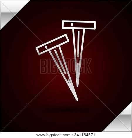 Silver Line Pegs For Tents Icon Isolated On Dark Red Background. Extreme Sport. Sport Equipment. Vec