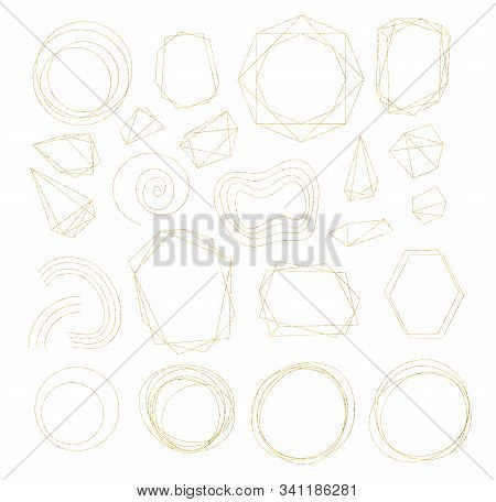 Gold Geometric Crystal Frames With Detailed Vector Foil Texture. Golden Thin Line Art Or Outline Lin