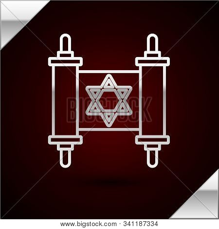 Silver Line Torah Scroll Icon Isolated On Dark Red Background. Jewish Torah In Expanded Form. Star O