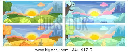 Four Seasons Of Year Natural Landscape With Lake, Hills And City Silhouette. Horizontal Vector Illus
