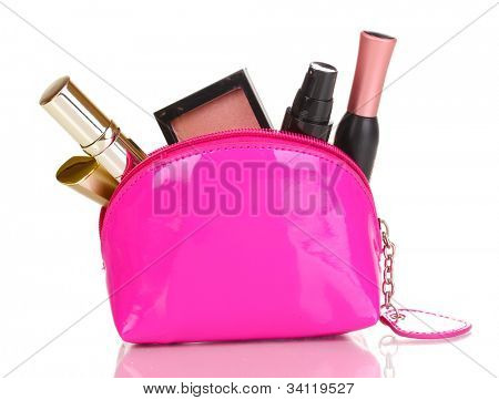 Make up bag with cosmetics isolated on white