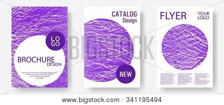 Catalog Cover Vector Templates. Proton Purple Color Waves Textures. Marketing Catalog Trendy Layouts