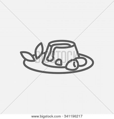 Panna Cotta Icon Line Symbol. Isolated Vector Illustration Of Icon Sign Concept For Your Web Site Mo