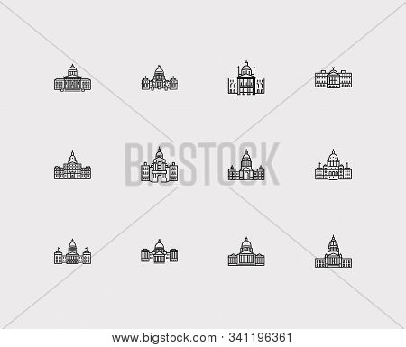 Us Capitols Icons Set. Arizona State Capitol And Us Capitols Icons With Tourism, Government And New