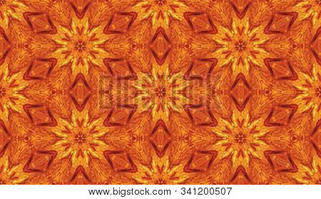 Star Shaped Background Texture In Geometric Ornamental Style In Orange, Exuberance And Lush Lava Col
