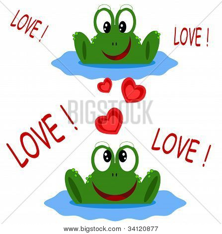 Two frogs, Valentine day card.