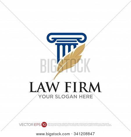 Pictograph Of Pillar Building And Feather For Attorney At Law Logo And Law Firm Logo Design, Simple