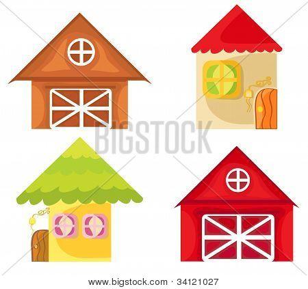 Set of cartoon houses