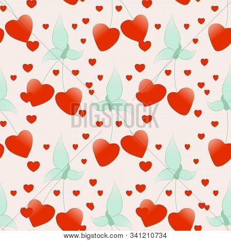 Cherries And Harts In A Seamless Pattern Design
