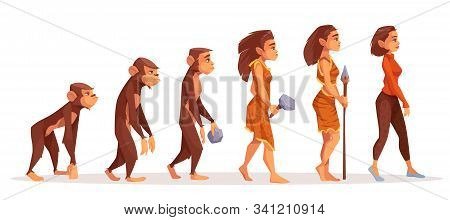 Human Evolution From Monkey To Woman Isolated On White Background. Female Character Evolve Steps Fro
