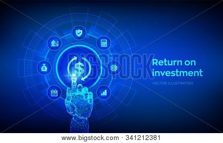 Roi. Return On Investment Business And Technology Concept. Profit Or Financial Income Strategy. Mark
