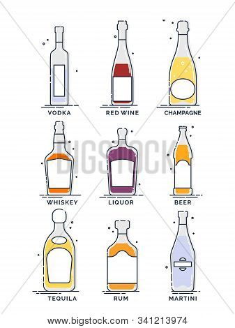 Flat Line Icon With Bottle Alcohol On White Background. Party Drink. Bar Sign. Isolated Object. Grap