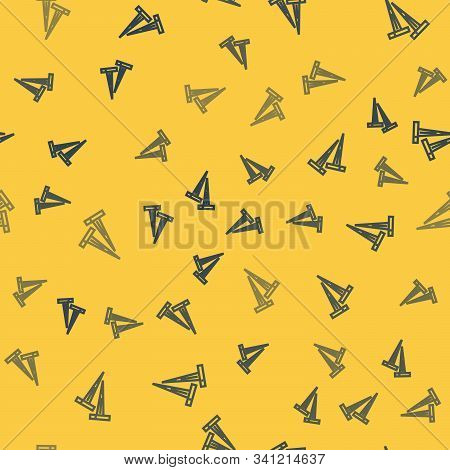 Blue Line Pegs For Tents Icon Isolated Seamless Pattern On Yellow Background. Extreme Sport. Sport E