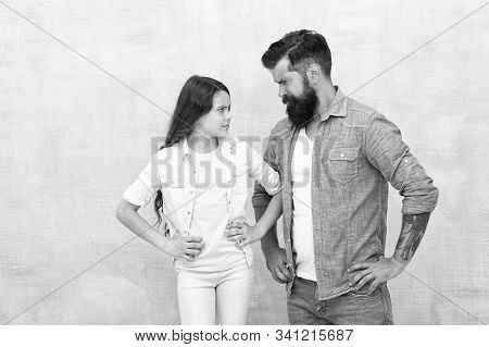 Sometimes Parenting Is About Misunderstanding. Family Conflict. Bearded Hipster Man And Child Girl.