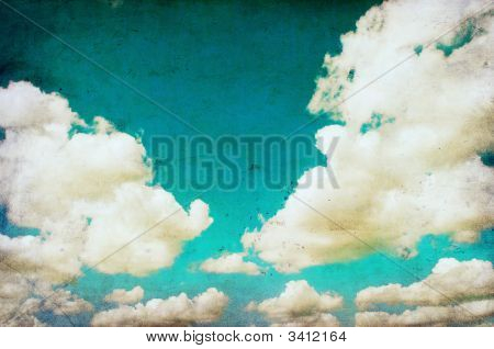 Retro Grunge Image Of Cloudy Sky