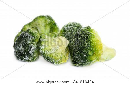 Pile Of Frozen Broccoli Florets Isolated On White. Vegetable Preservation