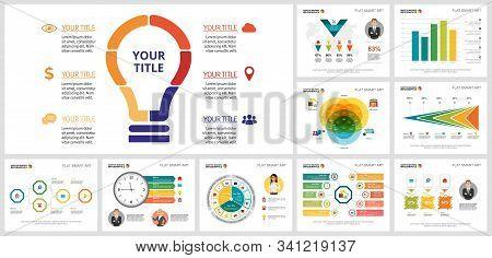 Trendy Infograph Template Set For Development Layout, Annual Analysis, Presentation Slide, Web Desig