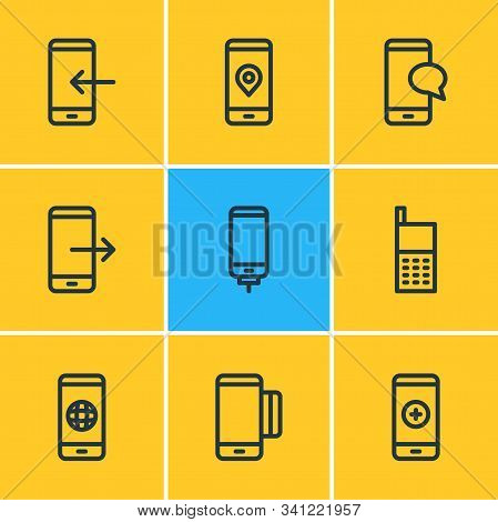 Vector Illustration Of 9 Smartphone Icons Line Style. Editable Set Of Chat, Pinpoint, Smartphone And