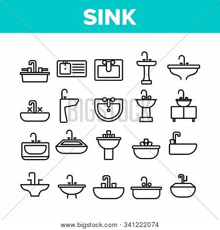 Sink Ceramic Bathroom Collection Icons Set Vector Thin Line. Bath Sink With Faucet, Restroom Hands A