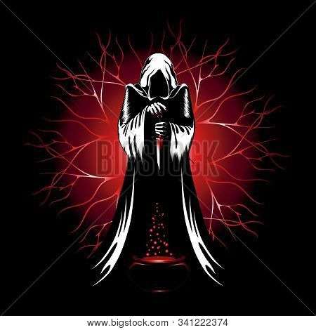 Vector Image Of A Sorcerer With A Knife And A Bowl Of Potion. The Sorcerer Conducts A Ritual.