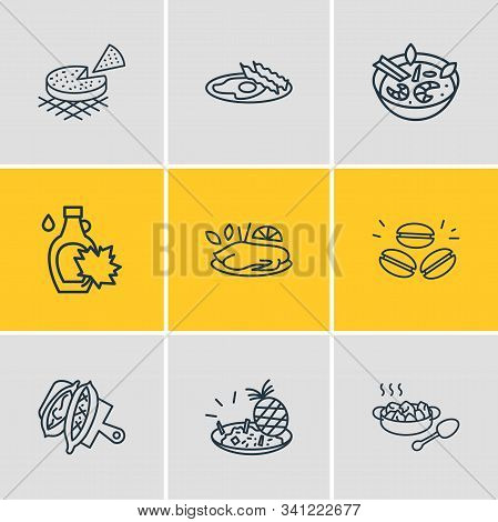 Vector Illustration Of 9 World Cuisine Icons Line Style. Editable Set Of Thai Tom Yung Kung, Canadia