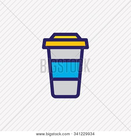 Vector Illustration Of Coffee To Go Icon Colored Line. Beautiful Leisure Element Also Can Be Used As