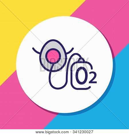 Vector Illustration Of Oxygen Mask Icon Colored Line. Beautiful Naval Element Also Can Be Used As He