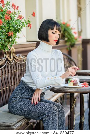 Gastronomical Enjoyment. Gourmet Concept. Girl Relax Cafe Cake Dessert. Pleasant Time And Relaxation
