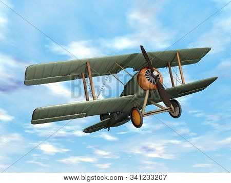 Old Retro Biplane Flying In The Sky - 3d Render