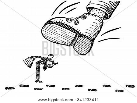 Drawing Of Detail Oriented Business Man Following A Track Of Shoe Prints With A Magnifying Glass In