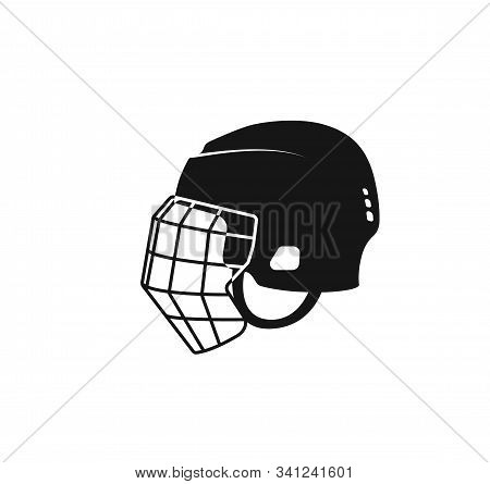 Ice Hockey Helmet Icon. Black Hockey Symbol. Vector Isolated Illustration