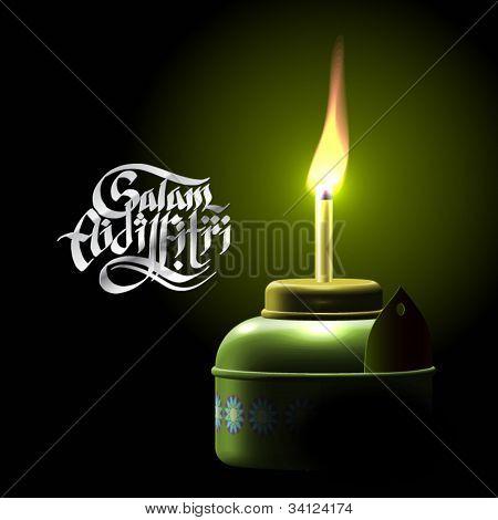 Vector Muslim Oil Lamp - Pelita Translation of Malay Text: Greetings of Eid ul-Fitr, The Muslim Festival that Marks The End of Ramadan