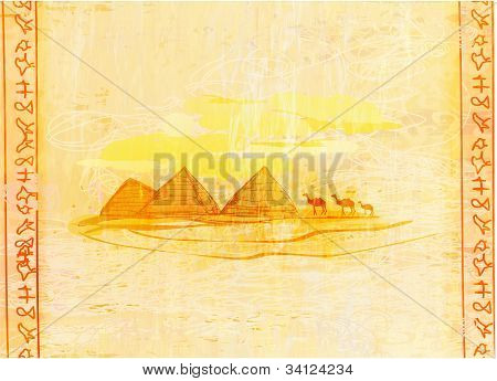 old paper with pyramids giza  - abstract illustration