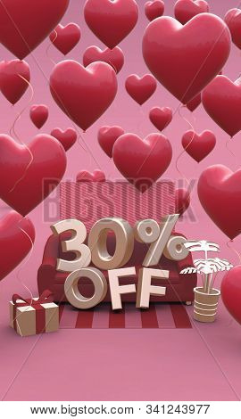 30 Thirty Percent Off - Valentines Day Sale 3d Illustration. Vertical Banner With Copy Space.