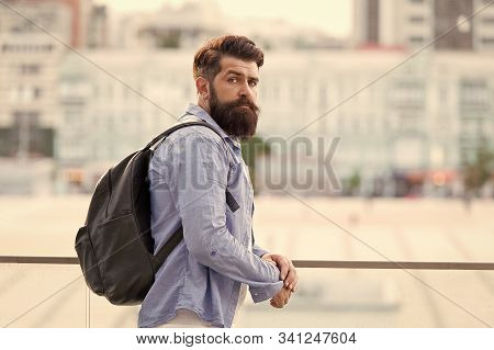 Backpack For Travelling And City Life. Hipster Wearing Backpack In Casual Style On Urban Outdoor. Be