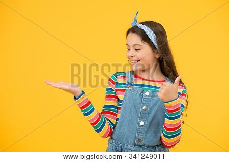 Advertisement Concept. Promoting Product For Kids. Launching Product. Product Presentation. Kid Happ